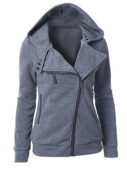 Gray Long Sleeve Zipper Solid Hoodie Coat
