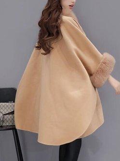 Elegant Paneled 3/4 Sleeve Stand Collar Cape Coat