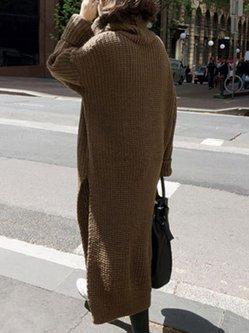 Khaki Stylish Warm Turtleneck Knitted Solid Long Sweater
