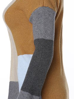 Women's Coat Knitted Casual Color-block Cardigan