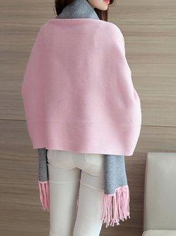 Multi color Casual Cape Sleeve Poncho Cardigan