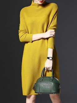 Fashion Knitted Stand Collar Elegant Dress