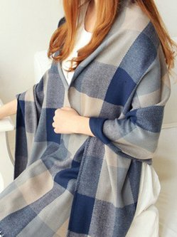 Unisex Multicolor Poncho Checkered/Plaid Casual Imitation Cashmere Scarf