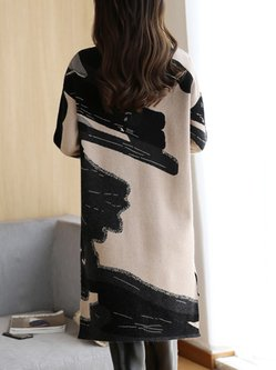 Fall Winter Dress Casual Long Sleeve Crew Neck Printed Dress