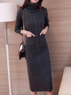 Sheath Elegant Knitted Long Sleeve Slit Sweater Dress with Pockets