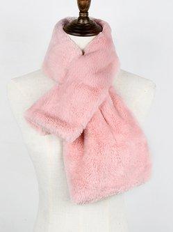 Solid Elegant Faux Fur Warm Scarf