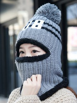 Casual Letter Knitted lined Fold-Over Pom-Pom Tab Beanie