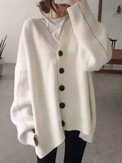 Slouchy Plain Cotton Knitted Elegant Buttoned Batwing Coat