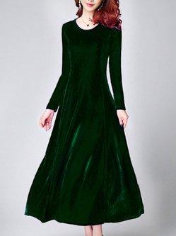 Elegant Zipper Crew Neck Solid Velvet Party Dress
