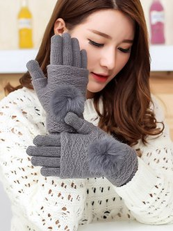 Convertible Women Elegant Touch Screen Cashmere Fold Gloves with Pom-Pom Fingerless Mittens