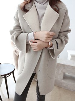 Light Gray Pockets Shawl Collar Long Sleeve Coat