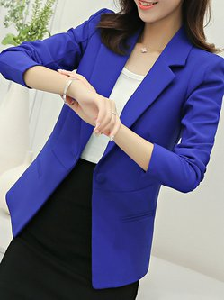 Long Sleeve Polyester Pockets Work Solid Blazer