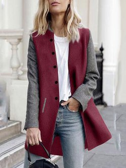 Simple Long Sleeve Solid Pockets A-line Coat