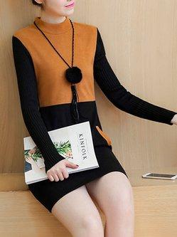 A-line Cotton-blend Paneled Long Sleeve Dress