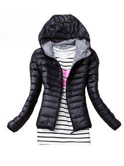 Cotton-blend Zipper Long Sleeve Hoodie Simple Coat
