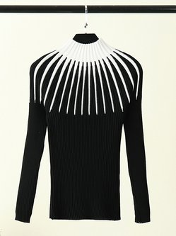 Simple Cotton-blend Long Sleeve Abstract Ribbed Sweater