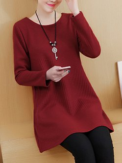 A-line Casual Cotton Knitted Long Sleeve Shirt
