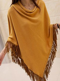 Solid Long Sleeve Simple Poncho