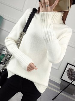 Turtleneck Casual Long Sleeve Plain Knitted Sweater