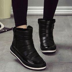 Waterproof PU Zipper Non-slip Fur Lined Boots