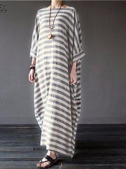 Gray Casual Linen Stripes Dress