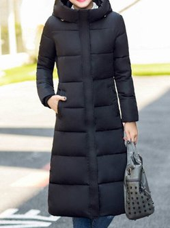 Solid Long Sleeve Cotton-blend Casual Quilted Coat
