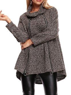 Long Sleeve Simple Zipper Coat