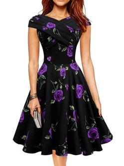 Printed Vintage Cotton-blend Floral Dress