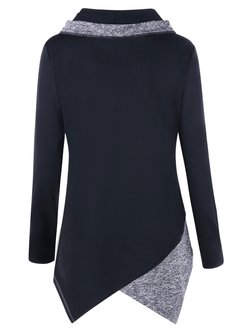Black Long Sleeve Solid Shawl Collar Asymmetric T-Shirt