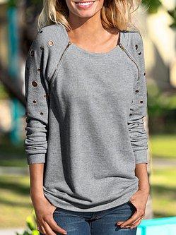Ripped Long Sleeve Cotton-blend Crew Neck T-Shirt