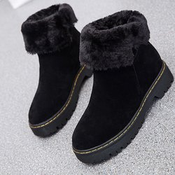 Suede Fur Lined Slip On Boots