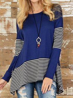 Patch Casual Asymmetrical Stripes Blouses & Shirt