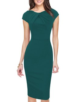 Elegant Sheath Polyester Ruched Dress