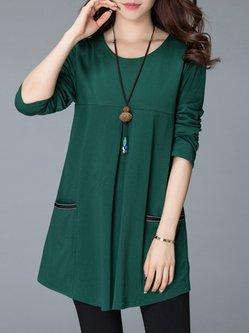 Shift Cotton-blend Pockets Long Sleeve Casual Dress