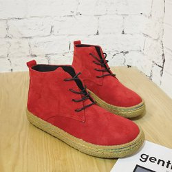 Solid Lace-up Suede Casual Boots