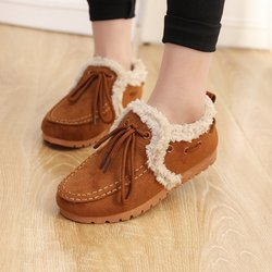 Faux Fur Lined Suede Bowknot Loafers