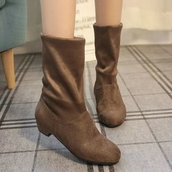 Fold Low Heel Suede Casual Mid-calf Boots