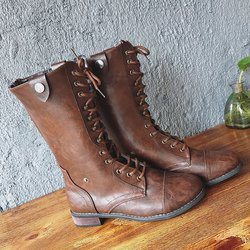 PU Casual Low Heel Lace-up Mid-calf Boots