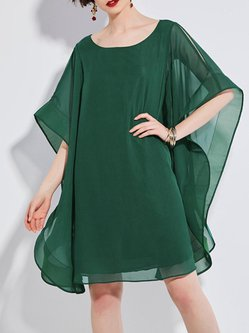 Green H-line Solid Casual Dress