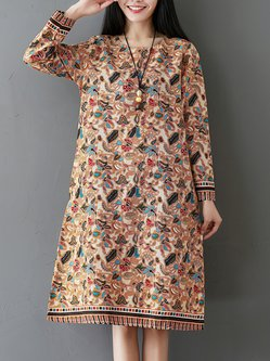Long Sleeve Casual Floral Floral-print Dress