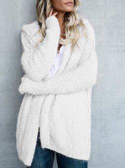 Solid Long Sleeve Hoodie Coat