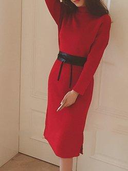 Long Sleeve Elegant Lace Up Lace Sheath Dress