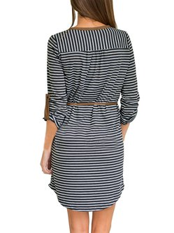 Pockets Casual Polyester V Neck Dress