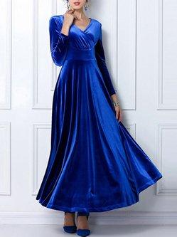 Long Sleeve V Neck Paneled Elegant Dress