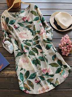 Multicolor Roll Tab Sleeve Floral-print Casual Dress