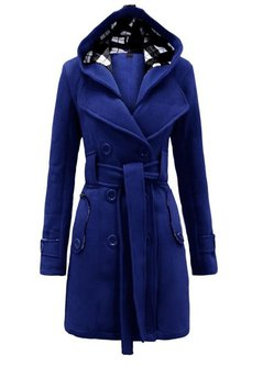 Women's Coat Hooded Long Sleeve Double Breasted Solid  Pea Coat