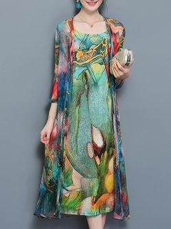 Green 3/4 Sleeve Two Piece Chiffon Dress