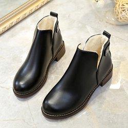Fur Lined Chunky Heel PU Slip On Boots