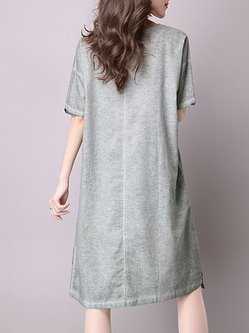 Gray Printed Graphic Half Sleeve A-line Dress