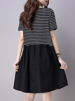 Black Short Sleeve Stripes Crew Neck Dress